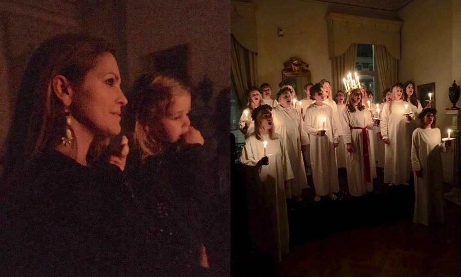 "Princess Madeleine and Princess Leonore along with Chris O'Neill stepped out for a holiday outing to watch a performance in honor of Saint Lucy, whose feast day is December 13, during the Advent season. Sharing a photos on Facebook, Madeleine wrote, ""Yesterday Chris and I took Leonore to the Swedish Residency in London to watch St Lucia appear, a bit early this year, but yet so beautiful and so very Swedish!"" 