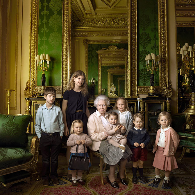 April: Everyone got in formation for Queen Elizabeth's 90th birthday photos. Prince George and Princess Charlotte, who sat on the Queen's lap, posed with their Gan Gan and cousins, Mia Tindall, James Viscount Severn, Lady Louise Windsor, Savannah and Isla Phillips for one of the Monarch's official birthday portraits ahead of the celebrations. 
