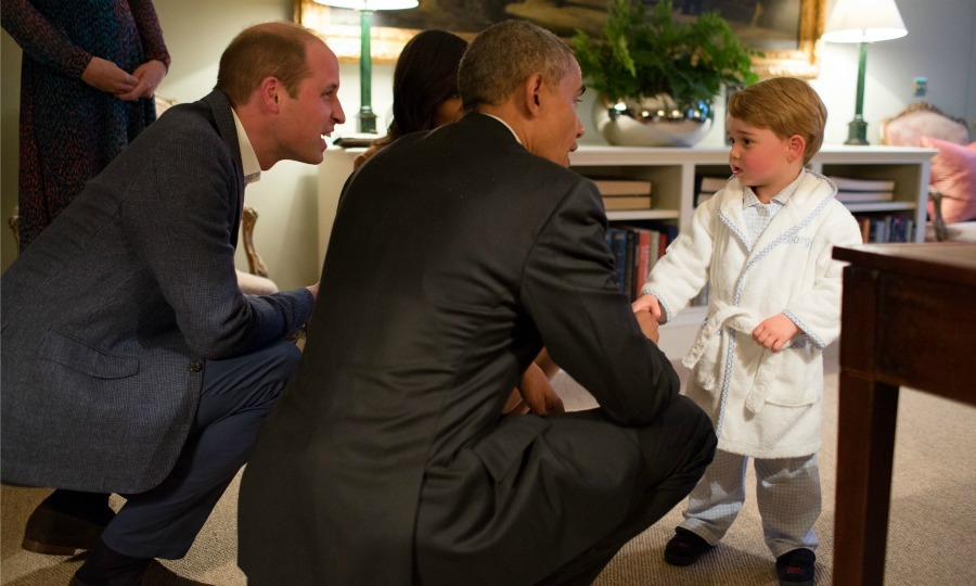 April: A royal introduction! Prince George showed off his royal pajamas during his meeting with President Obama. The little Prince was able to stay up 15 minutes past his bedtime so he could spend some time with the head of the United States before a dinner hosted by his parents and Prince Harry. 