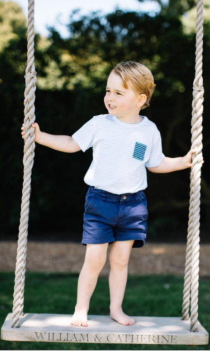 In the past, it has been George's mom who stepped behind the lens and snapped the photos. This year, the birthday boy showed off his grownup style in a series of four photos. In one, he is seen wearing a blue short and shirt set and standing on a wooden swing etched with the name of his parents. 