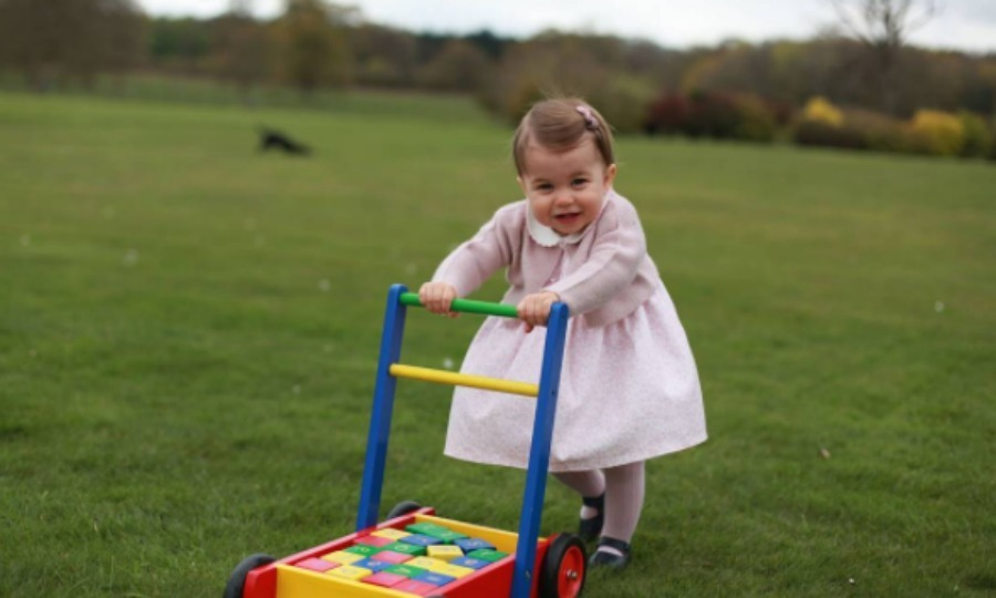 Not only did the little lady show off her style, she showed off her latest milestone, walking, while pushing a toy in the backyard of her home. 