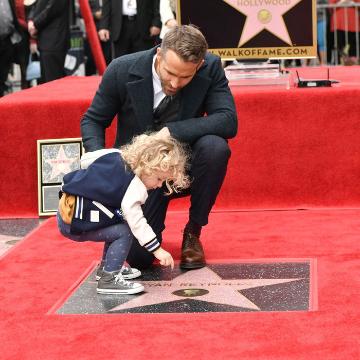 The <i>Deapool</i> actor and his daughter James admired his unveiled star on the Hollywood Walk of Fame.