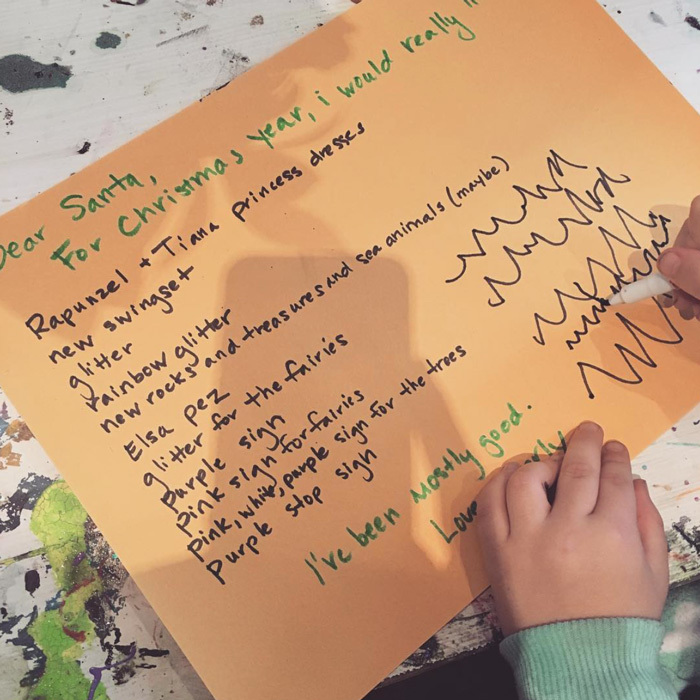 "Channing Tatum and Jenna Dewan-Tatum's daughter Everly has been ""mostly good"" this year, so the adorable tot asked Santa for a list of items ranging from glitter to pink and purple signs. 
