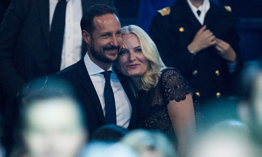 Crown Prince Haakon and Crown Princess Mette-Marit of Norway snuggled up during Sting's performance of <I>Every Breath You Take</I> during the Nobel Peace Prize concert in Telenor Arena.