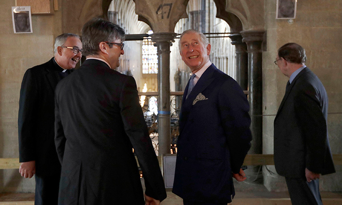 The Prince of Wales admired the interior of The Queen's Diamond Jubilee Galleries, described by the late British poet John Betjeman as 'the best view in Europe', at Westminster Abbey in London.  