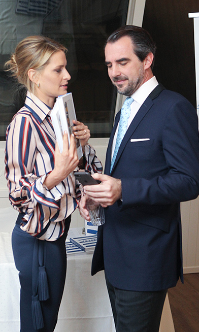 Royal foodie Princess Tatiana of Greece held her book <I>A Taste of Greece: Recipes, Cuisine & Culture</I> as she joined her husband Prince Nikolaos at an Athens event promoting the cookbook.