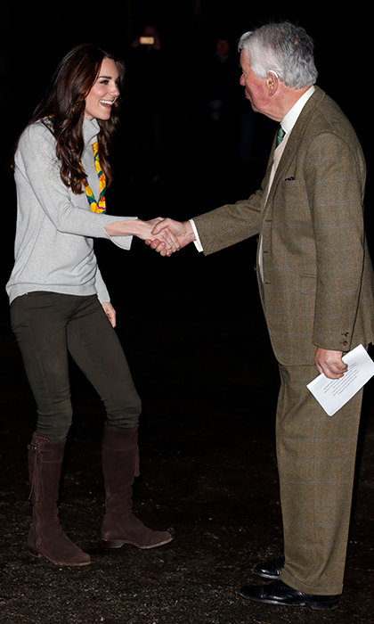 Catherine, Duchess of Cambridge was greeted by Richard Jewson, Lord-Lieutenant for Norfolk at a special Cub Scout Pack meeting to celebrate 100 years of Cubs on December 14 in King's Lynn, England. 