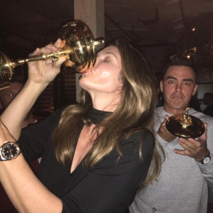 "December 14: Pour it up! <a href=""http://us.hellomagazine.com/tags/1/cindy-crawford/""><strong>Cindy Crawford</strong></a> knocked back a shot of Casamigos tequila from birthday boy Rickie Fowler's Ryder Cup during his 28th birthday celebration at Catch L.A. 