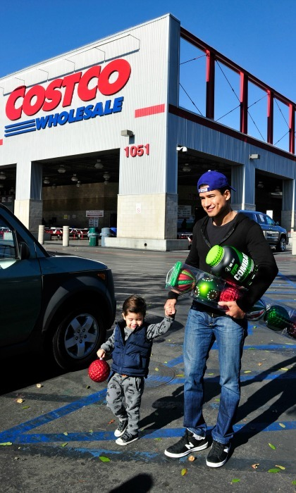 December 12: Mario Lopez had the help of his son Nico when he picked up MusclePharm at Costco Wholesale in Burbank. 