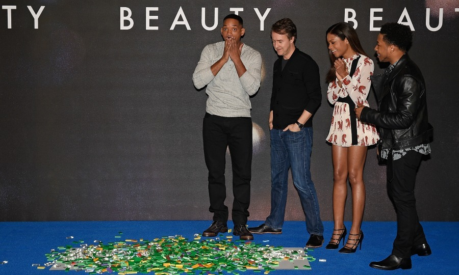 December 14: Oops! Will Smith and <i>Collateral Beauty</i> co-stars Edward Norton, Naomie Harris and Jacob Latimore had some fun during the film's photo call in London. 