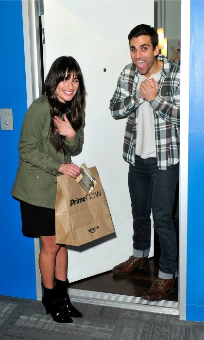 December 12: Lea Michele surprised a lucky Amazon Prime Now customer in L.A. with a Golden Ticket prize. 