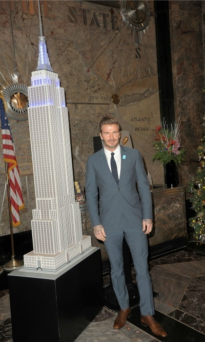 December 12: All of the lights! David Beckham turned NYC's Empire State Building blue in honor of UNICEF's 70th anniversary. 