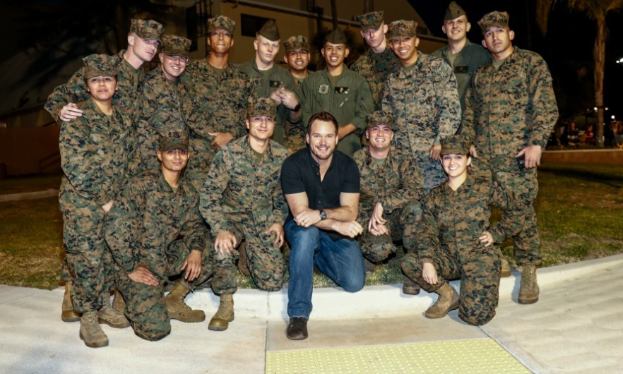 December 12: Semper Fidelis! Chris Pratt snagged a photo with a few proud men and women of the United States Marine Corps at the Marine Corps Air Station in San Diego. 