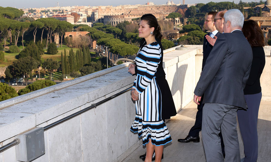 "Princess Estelle's mom took in the scenic sights at the Food and Agriculture Organization Headquarters. The royal was in attendance for the ""step it up together with rural women to end hunger and poverty"" seminar in Rome.