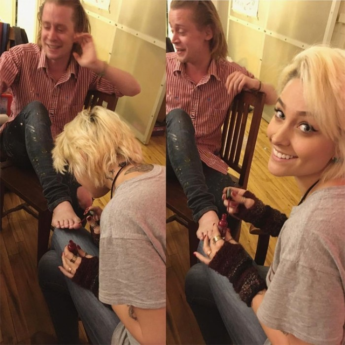 December 17: Paris Jackson, 18, spent some quality time with her godfather Macaulay Culkin in New York City. Michael Jackson's daughter had fun giving the 36-year-old <i>Home Alone</i> star a pedicure. 