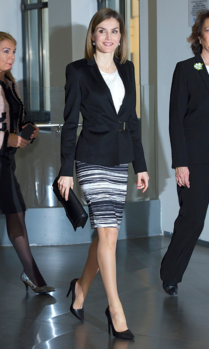 In February 2016, Queen Letizia of Spain wore her favorite striped BOSS Hugo Boss striped skirt at the Forum Against Cancer in Madrid.