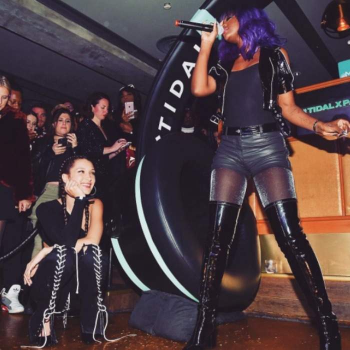 December 16: Bella Hadid celebrated her cover issue of Paper magazine at Kola House in NYC. The supermodel, who attended the event hosted by Tidal, caught a special performance from BFF Justine Skye. 