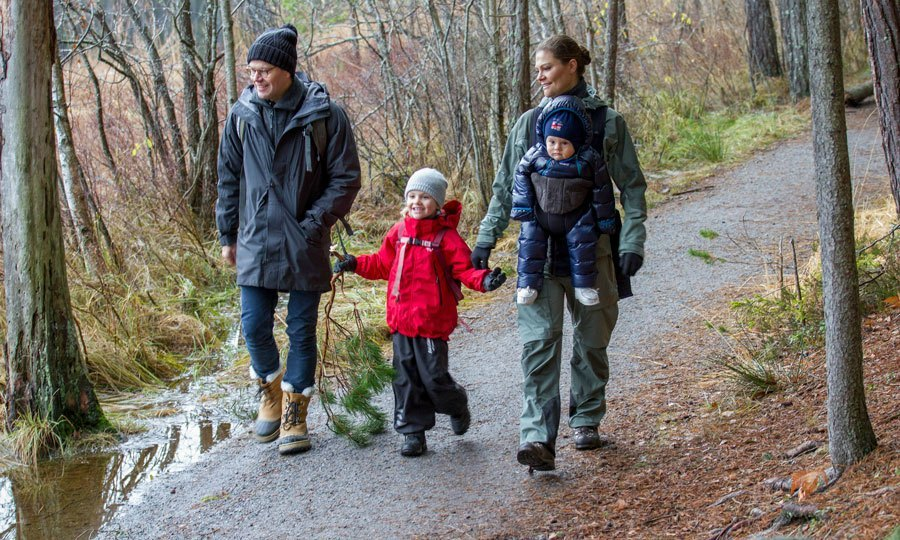 December 2016: The young Princess hiked through Tyresta National Park alongside her parents and baby brother for the royal family's annual Christmas video in 2016.