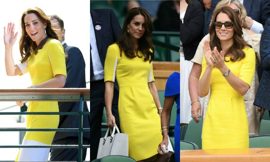For her first Wimbledon appearance of the season in 2016, Kate looked sunny in a vibrant yellow Roksanda Ilincic dress, accessorizing with a white purse and shades.