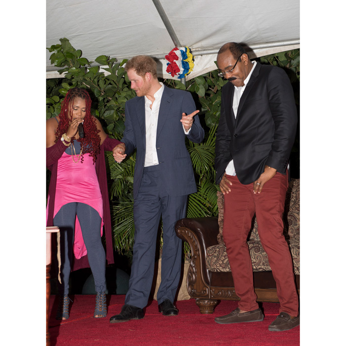 "While in Antigua, the Prince was left blushing when the country's Prime Minister Gaston Browne brought up his new relationship at a VIP reception. ""I believe we are expecting a new princess soon. I want you to know that you are very welcome to come on your honeymoon here,"" he told an embarrassed Harry.