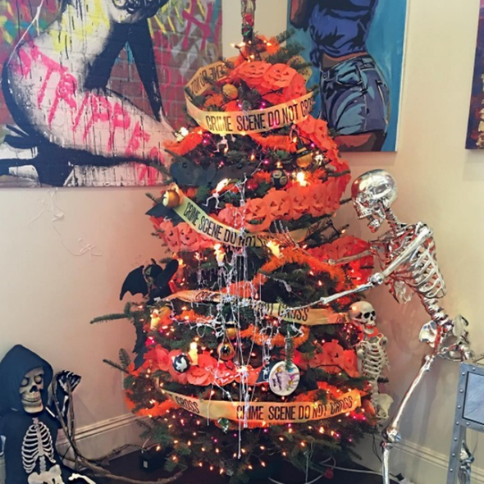 Amber Rose's son Sebastian  was inspired by Halloween when it came to decorating his spooky tree. 