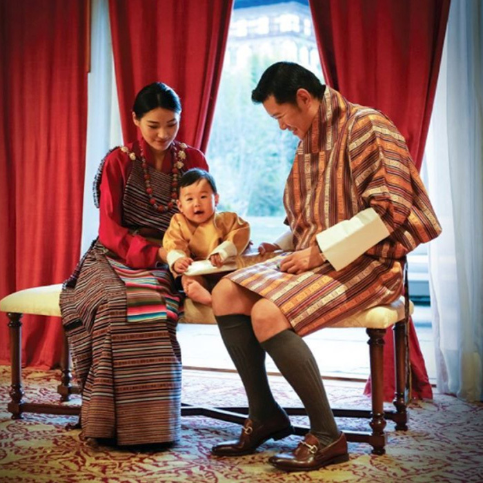"The Dragon King shared a photo of himself, wife and son from the royals' December calendar. Attached to the picture, a message read: ""We commemorate His Majesty's 10th year of reign with this wonderful photograph of our King, Queen, and Gyalsey. May such happiness and peace forever prevail in Bhutan.""