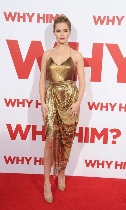 "<a href=""http://us.hellomagazine.com/tags/1/Zoey-Deutch/""><strong>Zoey Deutch</strong></a> glistened in a gold Balmain number at the premiere of <i>Why Him?</i> in Los Angeles.