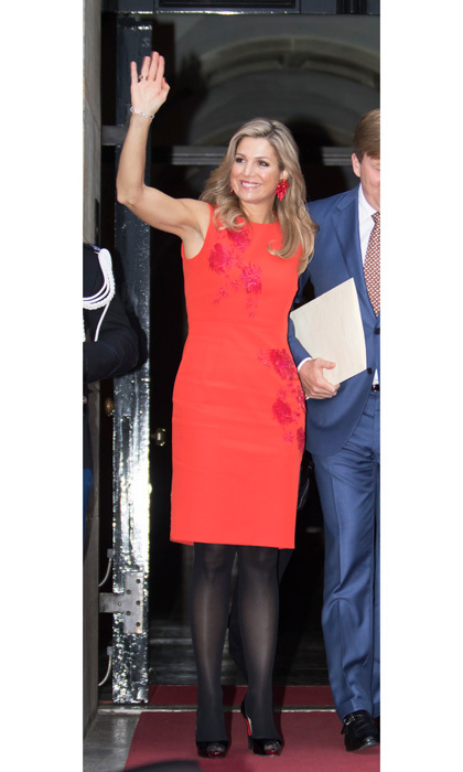 Queen Maxima braved the December weather in Amsterdam donning a vibrant sheath dress and black tights to a ceremony for the  2016 Prince Claus Award.