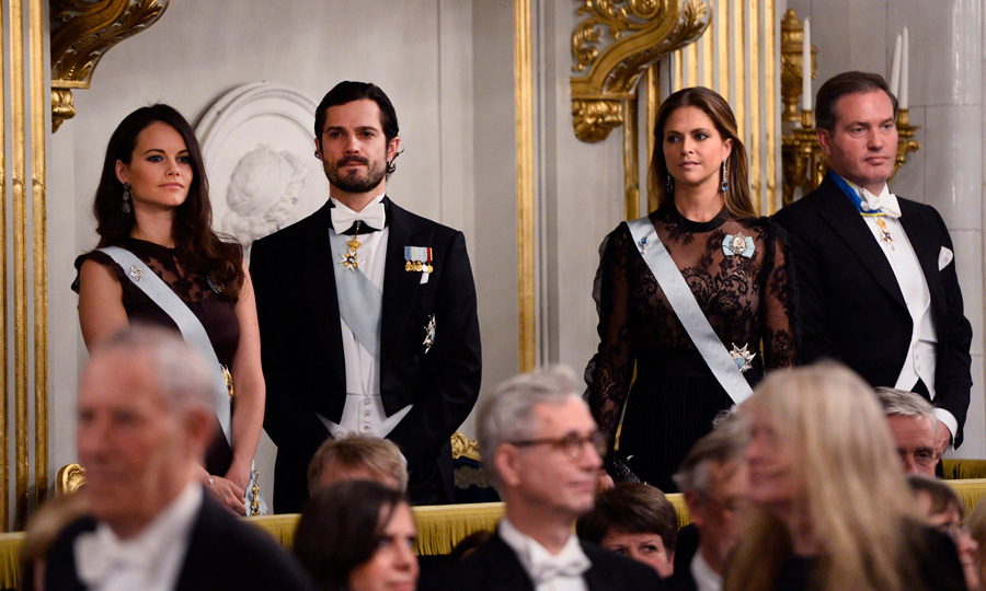It was parents' night out for Sweden's Princess Sofia, Prince Carl Philip, Princess Madeleine and Christopher O'Neill. The Swedish royal family members left their little ones at home to attend the Swedish Academy's annual meeting at the Old Stock Exchange building in Stockholm.