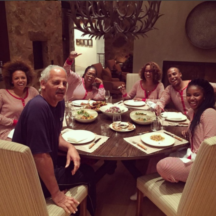 Oprah Winfrey and her crew all got into the holiday spirit with their festive Burt's Bees onesie pajamas. 