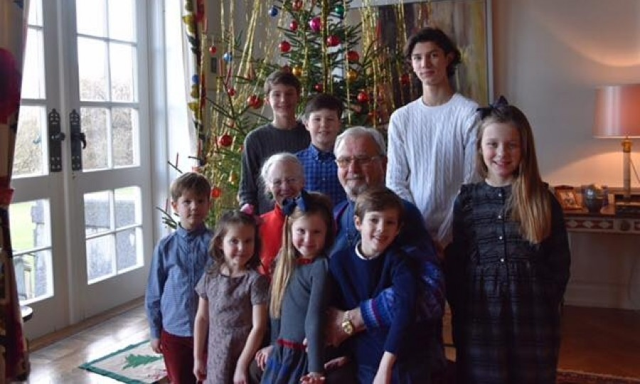 Queen Margrethe and Prince Henrik posed with their eight grandchildren in front of a Christmas tree in Marselisborg Palace in Aarhus, Denmark.