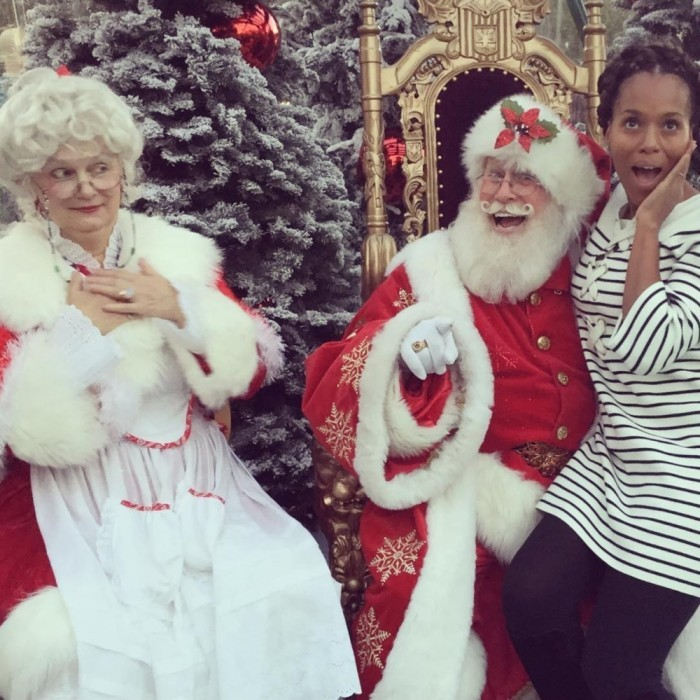 "Naughty or nice? Kerry Washington sat on Santa's lap for a picture as Mrs. Claus looked on. The <i>Scandal</i> star, who had her second child 10 weeks ago, posted the photo to Instagram with the caption: ""Very Merry. Xo.""