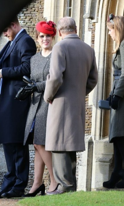 Princess Eugenie matched her lipstick to her fascinator for the Christmas day service.