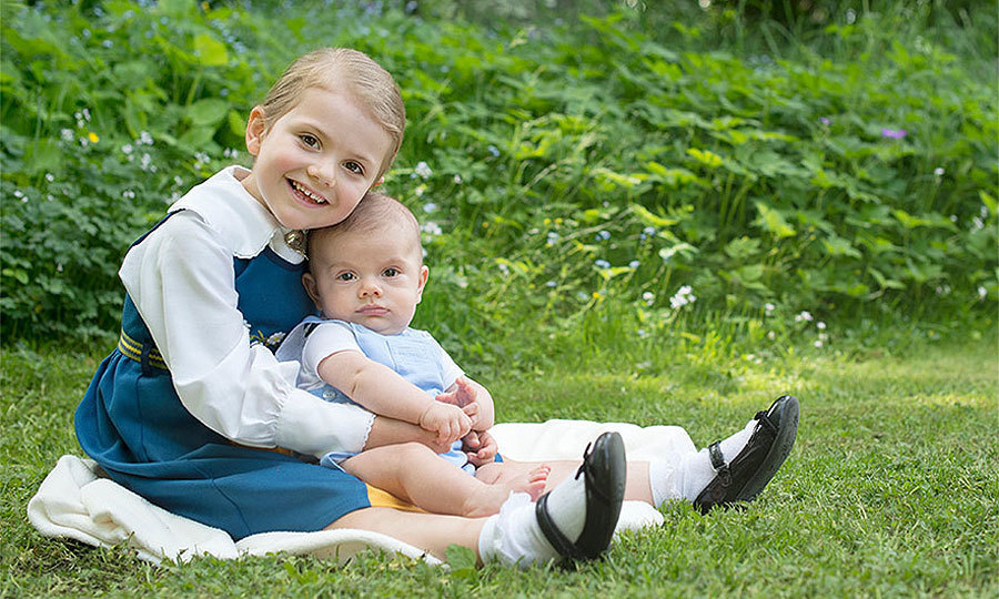 Princess Estelle and her new brother Prince Oscar were the picture of cute during their portraits that marked Sweden's National Day. 
