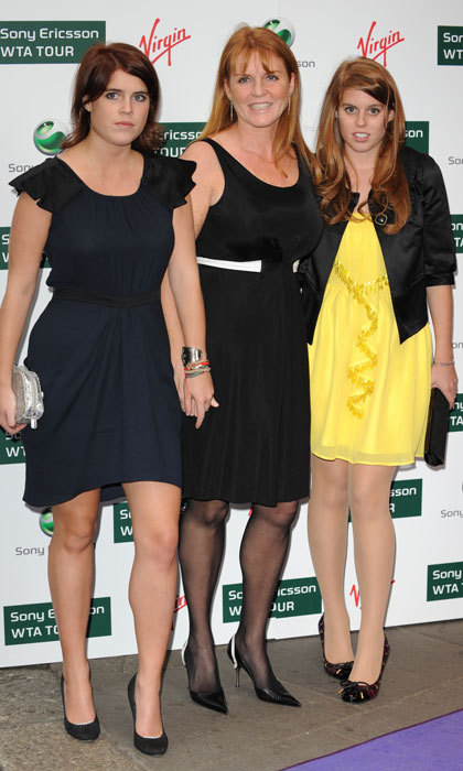 Sarah held daughter Princess Eugenie's hand while out at the 2009 Ralph Lauren/Sony Ericsson WTA Tour pre-Wimbledon Party at the Kensington Roof Gardens in London. 