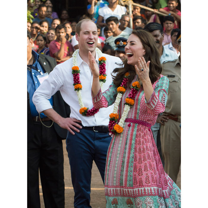 William and Kate laughed it up as they participated in football games during a visit to the Banganga Water tank in Mumbai, India.
