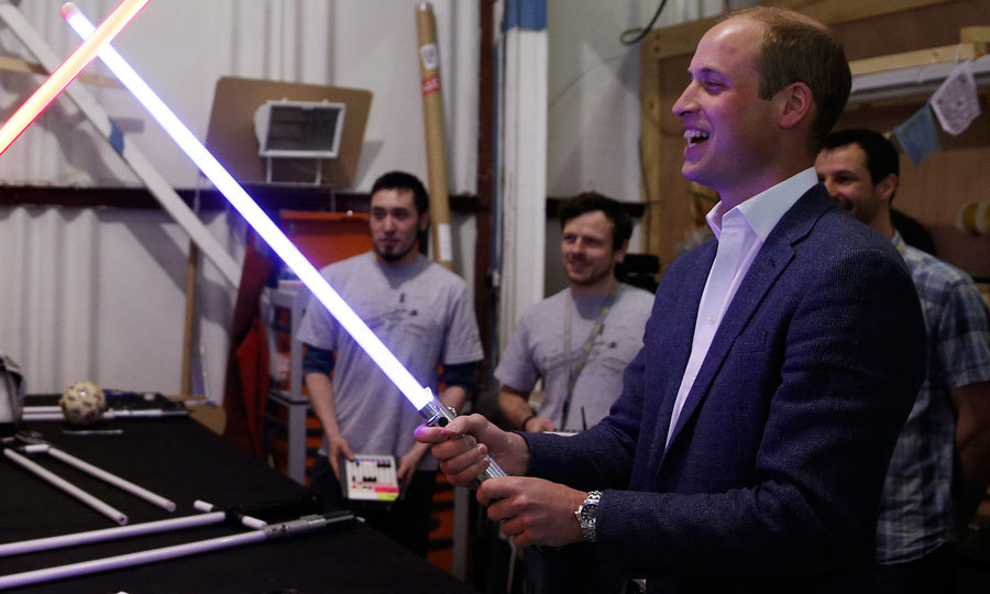 The force was strong with the Duke of Cambridge as he played with a lightsaber during his visit to the <i>Star Wars</i> film set in London.