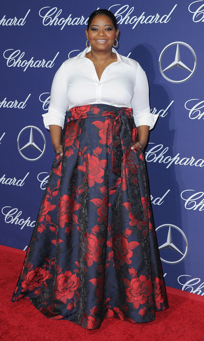 January 2: Octavia Spencer made a floral statement wearing a rose-printed full ball skirt to the Palm Springs Film Awards sponsored by Mercedes-Benz.