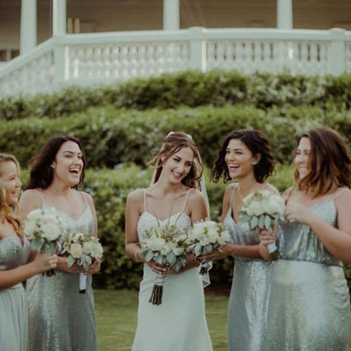 "<i>Gossip Girl</i> alum Jessica Szohr (second from the right) dazzled in a seafoam green, sequin bridesmaid dress at her sister Megan Burg's wedding. Sharing a photo from the big day, the actress wrote, ""2016 was awesome and flew by... one beautiful memory that sticks out to me is my gorgeous sister @megnoliaa and now brother in law Tyler's wedding in Jamaica. I can't explain the emotions and laughs that occurred on this trip! Love you both... let's make 2017 another great year;).""