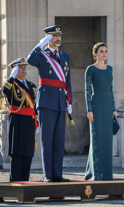 Queen Letizia stunned wearing a blue embroidered gown by Felipe Varela for her first public engagement of the new year. The Spanish monarch stepped out with husband King Felipe VI for the military celebration of Epiphany Day at Madrid's royal palace.