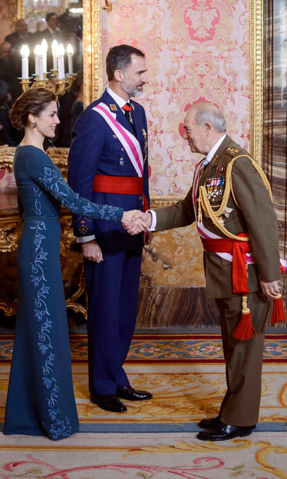 The Spanish royals met military members at the royal palace during the Military Easter celebration, which marks the beginning of the military year. 