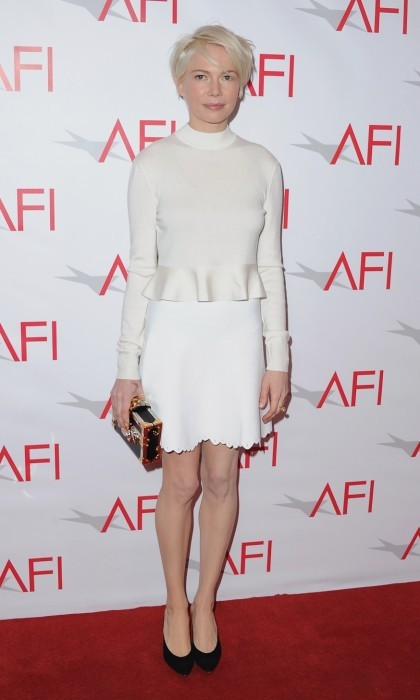 January 6: Dressed in Louis Vuitton, Michelle Williams graced the 17th Annual AFI Awards red carpet. The actress, who wore Mansur Gavriel heels, was there representing her work in <i>Manchester by the Sea</>.