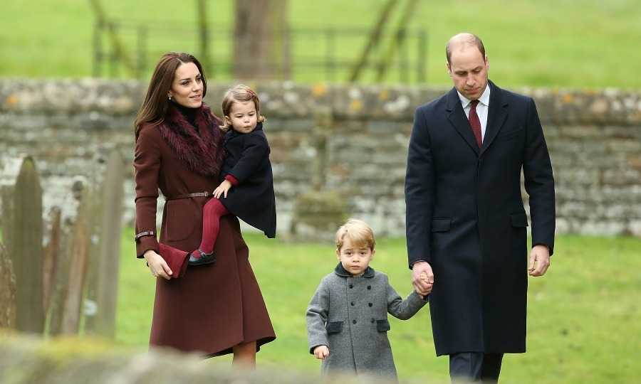 Kate held on to Princess Charlotte and walked close to William and son Prince George during the Christmas Day service in 2016. 
