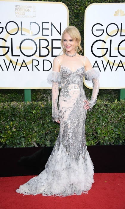 Nicole Kidman shined bright in a shimmery Alexander McQueen dress on 74th annual Golden Globes red carpet. 