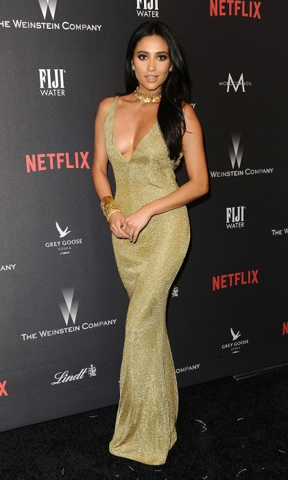 Golden goddess! Shay Mitchell wore a gold Leah de Gloria dress to the 2017 Weinstein Company and Netflix Golden Globes after-party. 