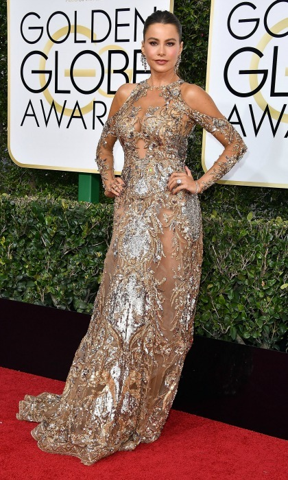 Sofia Vergara was the belle of the ball in a metallic Zuhair Murad couture gown at the 74th annual Golden Globes. 