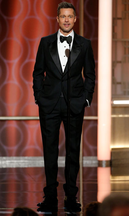 The announcement came one day after Brad made a surprise return to the Hollywood spotlight, seen here, on stage at the Golden Globes on January 8.