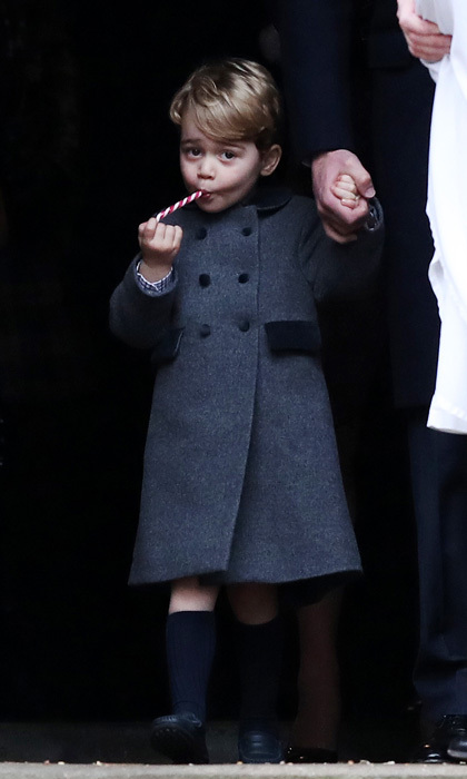 Prince George looked dapper for Christmas church service with his parents and little sister donning a classic wool coat by Pepa and Company, which he paired with his signature knee-high socks.