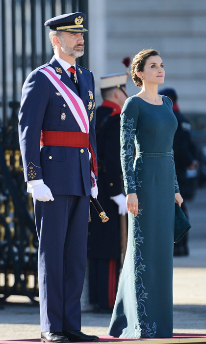 Queen Letizia stunned wearing a blue embroidered gown by Felipe Varela alongside her husband King Felipe VI at the military celebration of Epiphany Day at Madrid's royal palace.