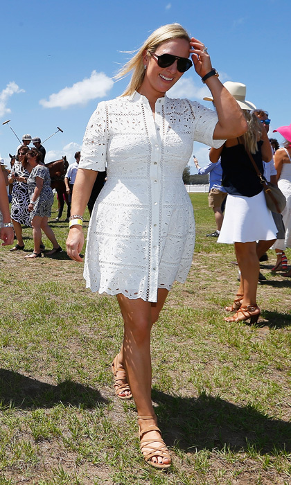 Zara Phillips looked summery wearing a white eyelet dress at the Magic Millions Polo event in Gold Coast, Australia. 